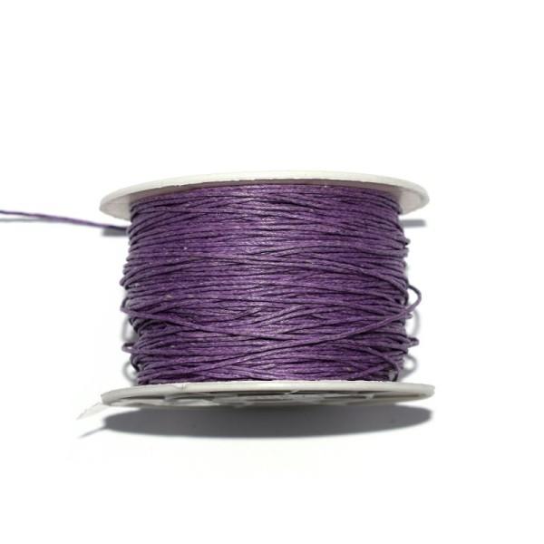 Coton ciré 1 mm violet moyen x1 m - Photo n°1