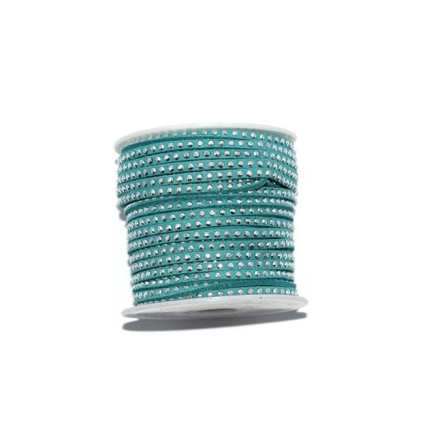 Suédine rivets argentés 3 mm pétrole x10 cm - Photo n°1