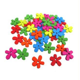 Perles en forme de fleurs en bois (21 x 03 mm) Multi - Sachet de 100 pièces