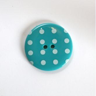Boutons à Pois 34mm 2 Trous : Vendu à l'unité - Turquoise