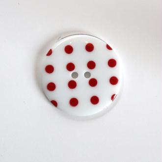 Boutons à Pois 34mm 2 Trous : Vendu à l'unité – Blanc / Rouge