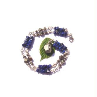 Collier Lapis Lazuli et Pyrite 46 CM de tour de cou