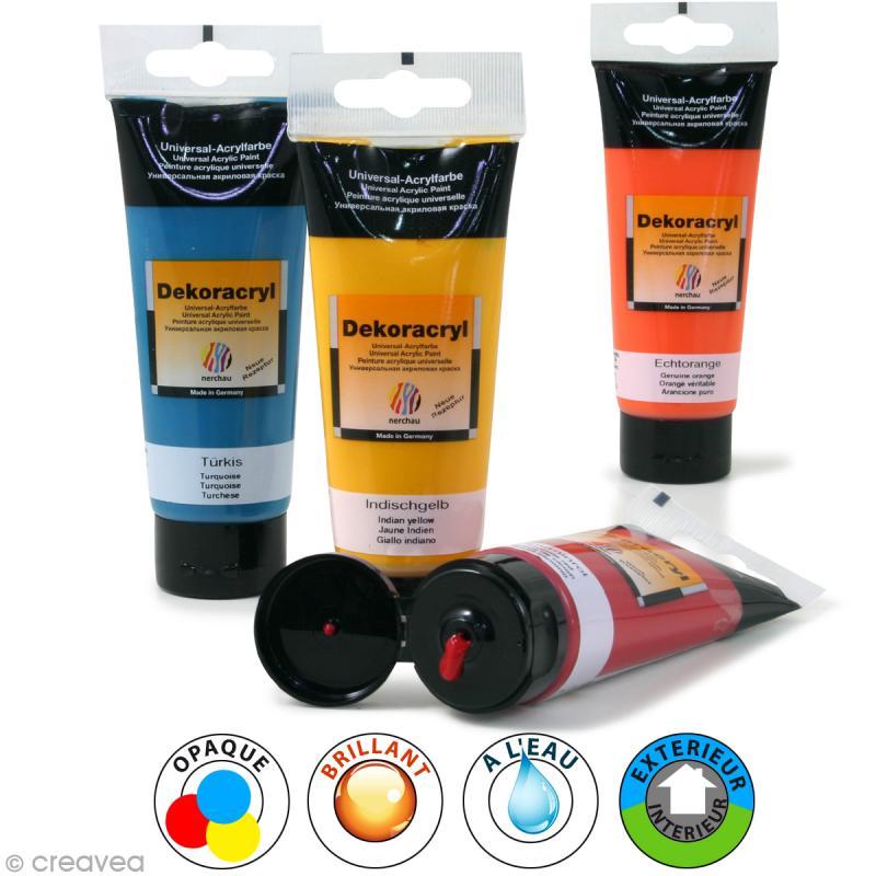 Peinture acrylique brillante dekoracryl 100 ml for Peinture 100 acrylique exterieur