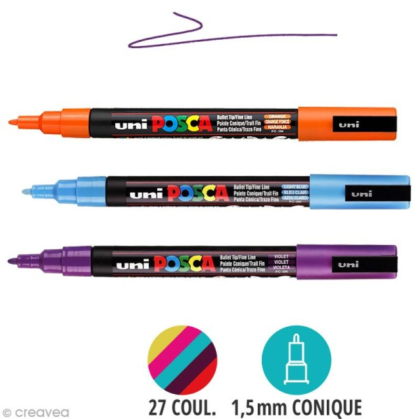 Marqueur Posca pointe conique fine 1,5 mm - Photo n°1