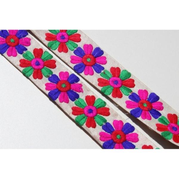 Galon brodé fleuri ou ruban de 3.8 cm de large en 5 couleurs - Photo n°2