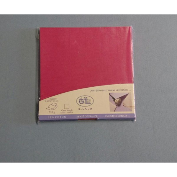 25 Cartes simples   couleur framboise  210g - Photo n°1