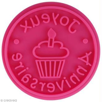 Pastille Joyeux anniversaire pour tampon ScrapCooking - 6,5 cm