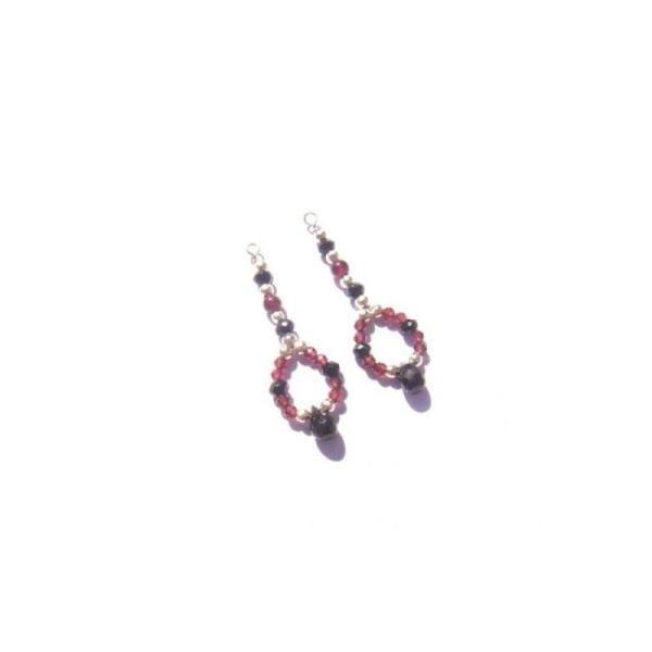 Spinelle Noir et Grenat : Paire de pendentifs 3,5 CM de hauteur x 1,2 CM de largeur - Photo n°2