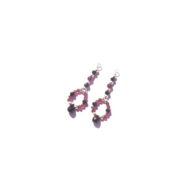 Spinelle Noir et Grenat : Paire de pendentifs 3,5 CM de hauteur x 1,2 CM de largeur - Photo n°1