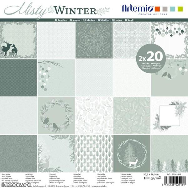 Papier Scrapbooking Artemio - Misty Winter - 30,5 x 30,5 cm - 40 pcs - Photo n°1