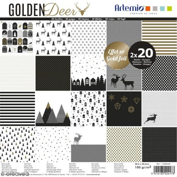 Papier Scrapbooking Artemio - Golden deer - 30,5 x 30,5 cm - 40 pcs - Photo n°1