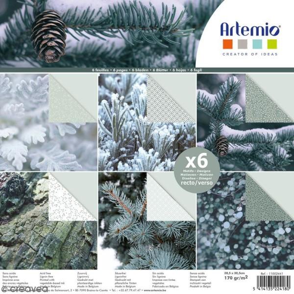 Papier scrapbooking Artemio - Sapin et nature - 30,5 x 30,5 cm - 6 feuilles - Photo n°1