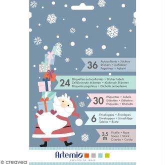 Kit enveloppes, étiquettes et autocollants cadeaux Artemio - My little Xmas - 97 pcs