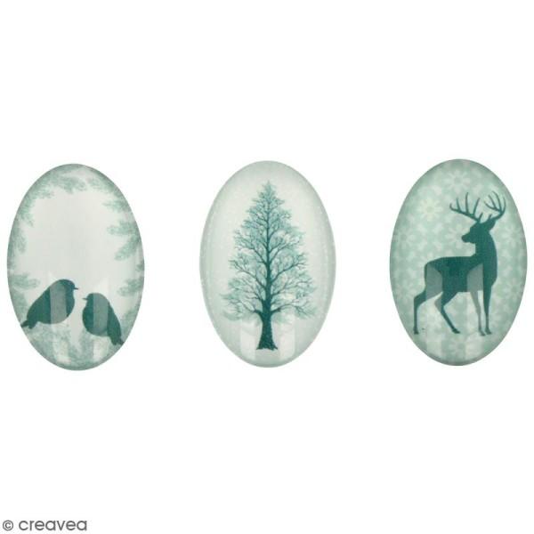 Cabochon Ovale Artemio - Misty Winter - 2 x 3 cm - 6 pcs - Photo n°1
