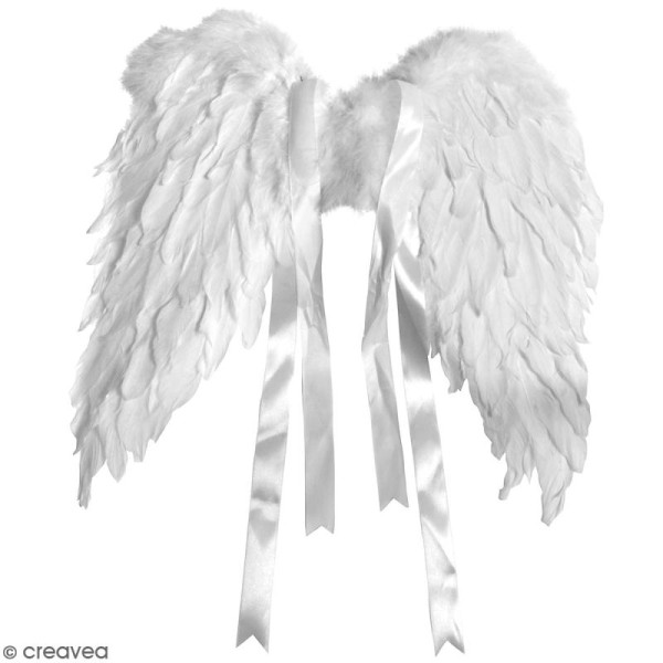 Ailes d'anges en plumes blanches - 50 x 40 cm - Photo n°1