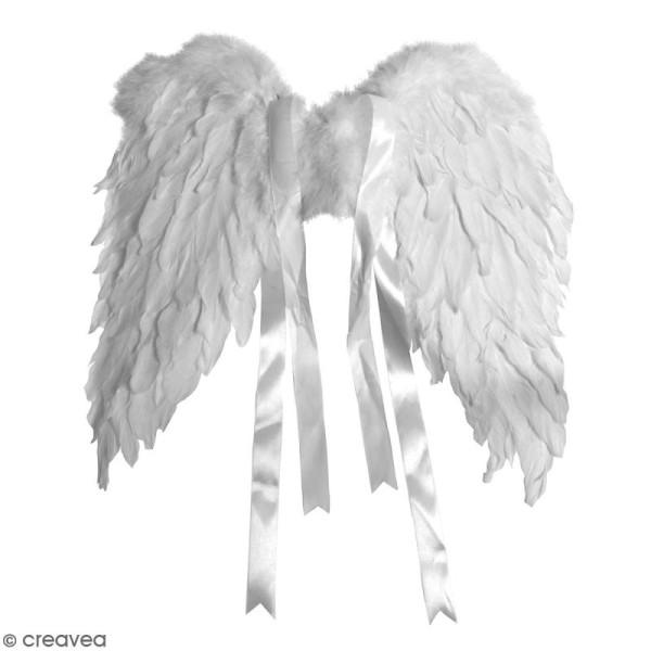 Ailes d'anges en plumes blanches - 40 x 30 cm - Photo n°1