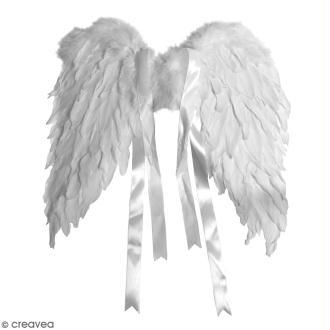 Ailes d'anges en plumes blanches - 40 x 30 cm
