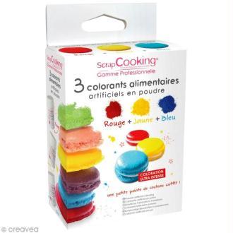 Colorant alimentaire artificiel en poudre x 3 Rouge Jaune Bleu
