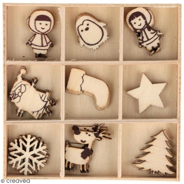 Set de mini silhouettes en bois - My little Xmas - 2,5 cm - 27 pcs - Photo n°1