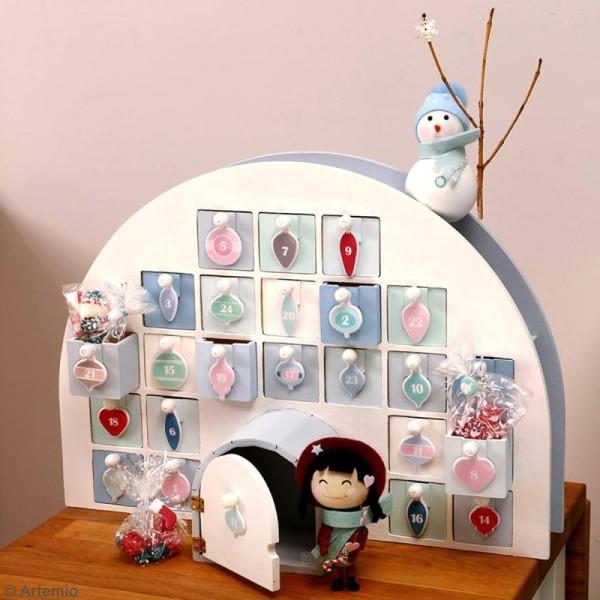 Calendrier de l'avent en bois à décorer - Igloo - 44 x 32 x 15,5 cm - Photo n°2