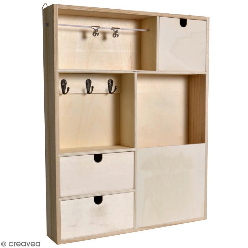 organiseur mural tiroirs en bois brut 40 x 50 x 7 cm meuble d corer creavea. Black Bedroom Furniture Sets. Home Design Ideas