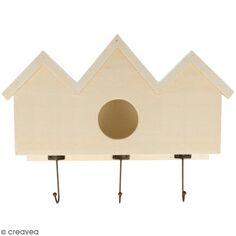 Patère nichoir en bois brut à décorer- 28,5 x 22,5 x 7,5 cm