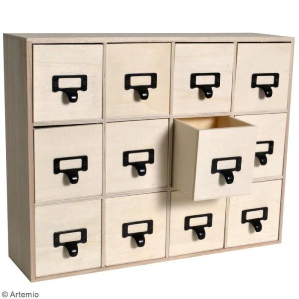 Meuble à tiroirs en bois brut - poignées métal - 41,5 32,5 x 11 cm - Photo n°2