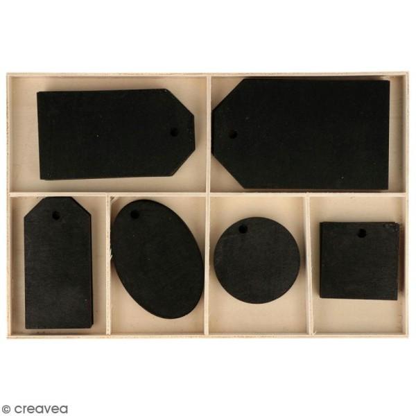 Set étiquettes noires en bois - 4 à 8 cm - 36 pcs - Photo n°1