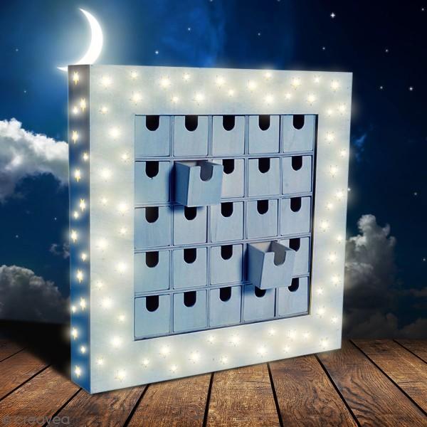 Calendrier de l'avent en bois à décorer - Tableau LED - 39 x 39 x 6 cm - Photo n°2