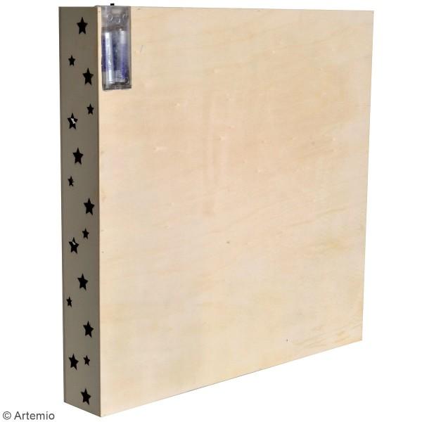 Calendrier de l'avent en bois à décorer - Tableau LED - 39 x 39 x 6 cm - Photo n°3