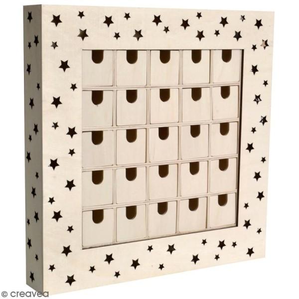 Calendrier de l'avent en bois à décorer - Tableau LED - 39 x 39 x 6 cm - Photo n°1