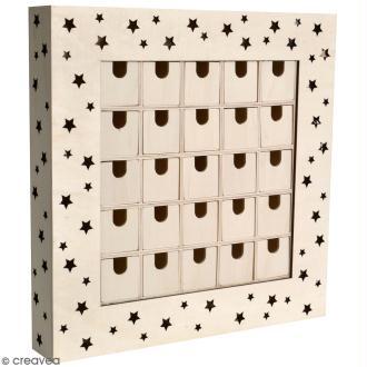 Calendrier de l'avent en bois à décorer - Tableau LED - 39 x 39 x 6 cm