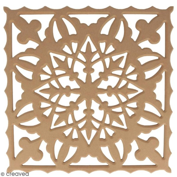 Tableau bois ajouré à décorer - Flocon de neige - 30 x 30 cm - Photo n°1