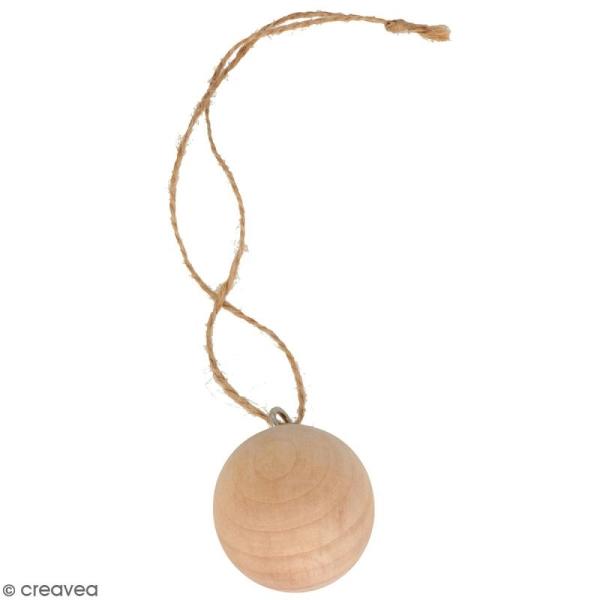 Suspension Boule en bois à décorer - 4 cm - 3 pcs - Photo n°1