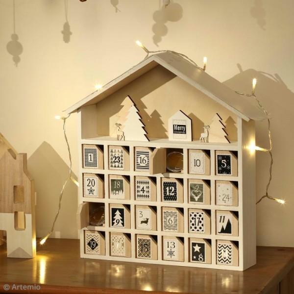 Decoration Calendrier De L Avent En Bois.Calendrier De L Avent En Bois A Decorer Maison 31 5 X 34 X 7 Cm