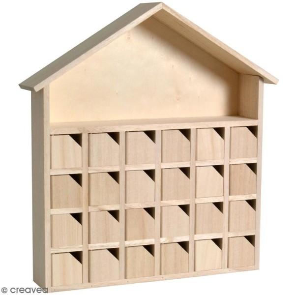 Calendrier de l'avent en bois à décorer - Maison - 31,5 x 34 x 7 cm - Photo n°1