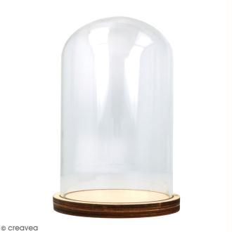Cloche en verre avec socle - 9 x 14 cm