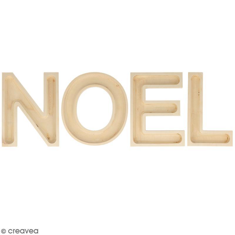 mot no l en bois d corer lettres creuses 19 cm mot en bois creavea. Black Bedroom Furniture Sets. Home Design Ideas