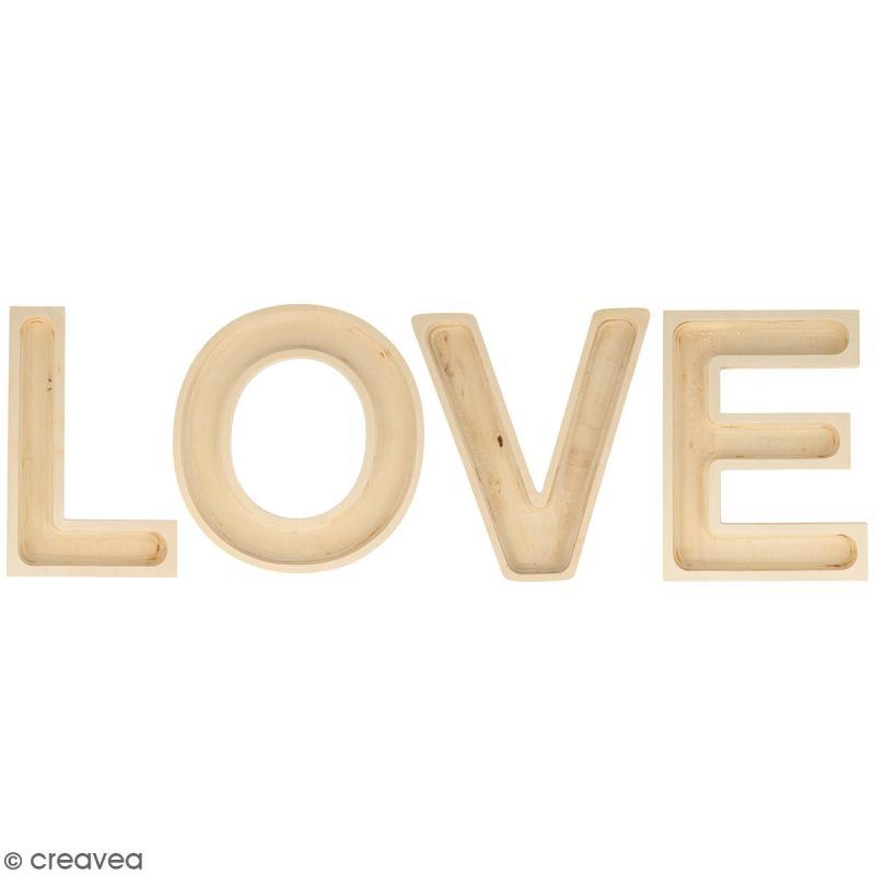 mot love en bois d corer lettres creuses 19 cm mot en bois creavea. Black Bedroom Furniture Sets. Home Design Ideas