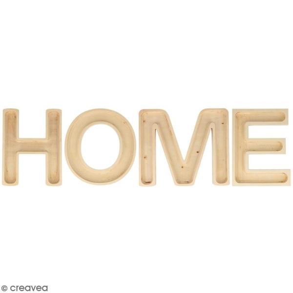 Mot Home en bois à décorer - Lettres creuses - 19 cm - Photo n°1