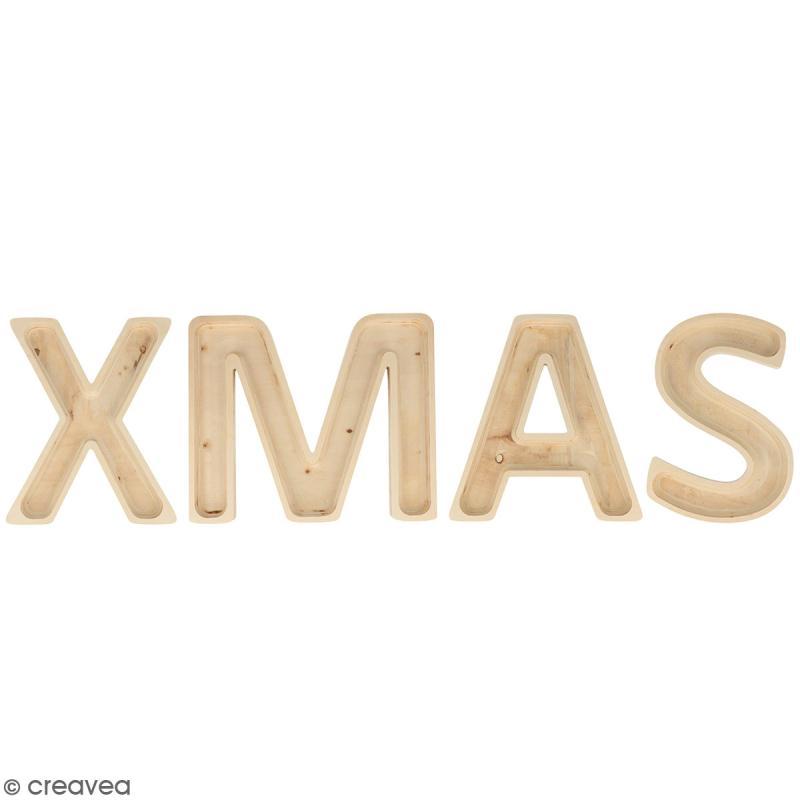 mot xmas en bois d corer lettres creuses 19 cm mot en bois creavea. Black Bedroom Furniture Sets. Home Design Ideas