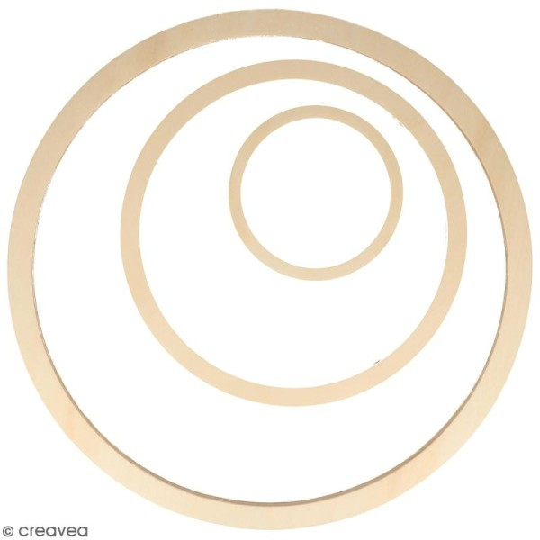 Forme en bois à décorer - Cercles - 40, 26, 13 cm - 3 pcs - Photo n°1
