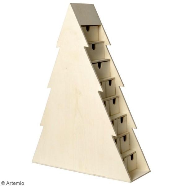Calendrier de l'avent en bois à décorer - Sapin - 47 x 50 x 12 cm - Photo n°2