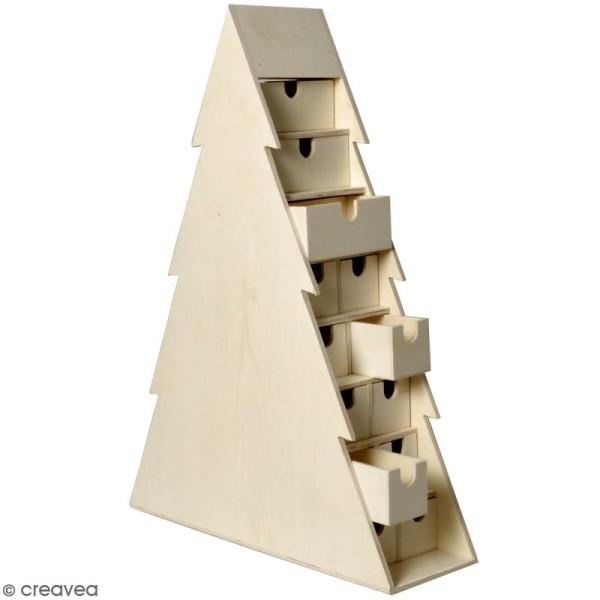Calendrier de l'avent en bois à décorer - Sapin - 47 x 50 x 12 cm - Photo n°1