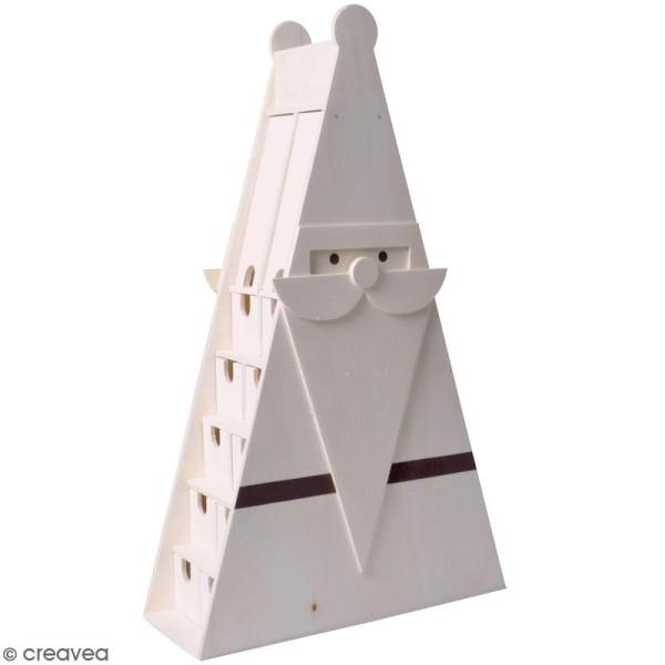 Calendrier de l'avent en bois à décorer - Père Noël triangulaire - 30 x 50,5 x 11,5 cm - Photo n°1