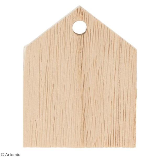 Guirlande maisons en bois à décorer - 10 pcs - Photo n°2