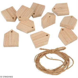 Guirlande maisons en bois à décorer - 10 pcs