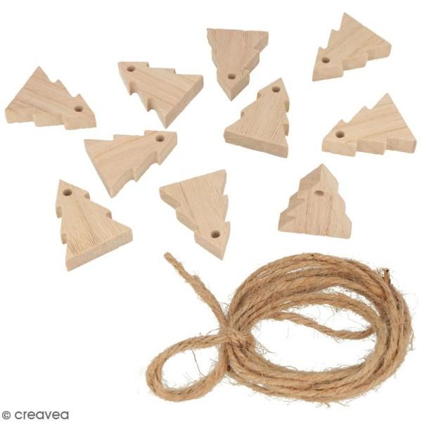 Guirlande sapins en bois à décorer - 10 pcs - Photo n°1