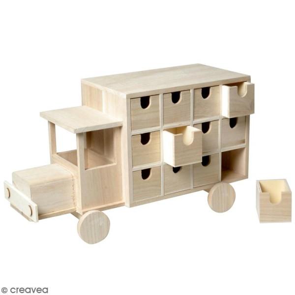 Calendrier de l'avent en bois à décorer - Camion - 39 x 20,5 x 15,7 cm - Photo n°1