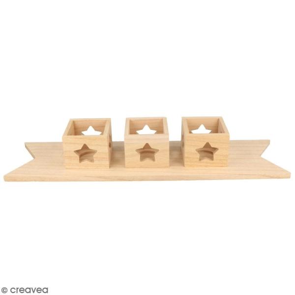 Centre de table en bois à décorer - Fanion photophores étoiles - 40 x 10 cm - Photo n°1